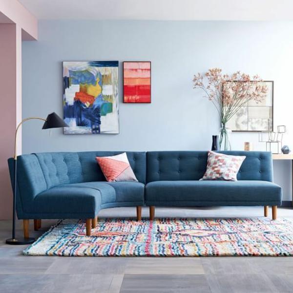 Design Ideen Ecksofa Fr Das Wohnzimmer Blaues Sofa