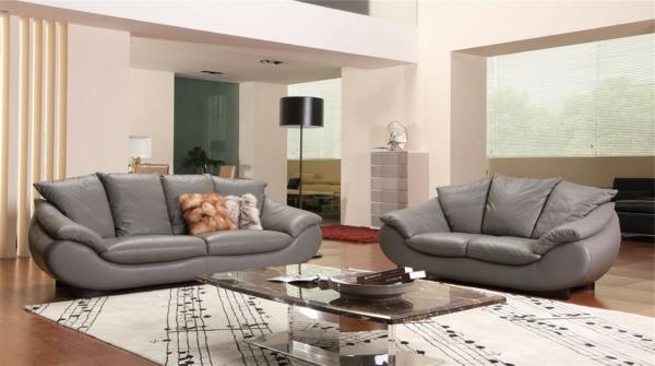 design-ideen-ledersofa-für-das-wohnzimmer -graues-sofa