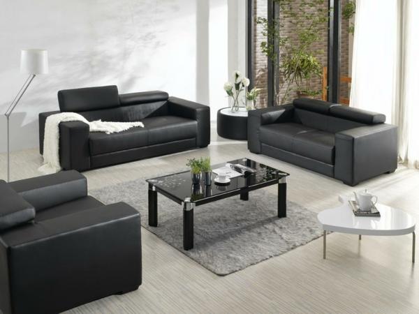 design-ideen-ledersofa-für-das-wohnzimmer -in-schwarz
