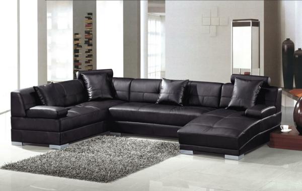 design-ideen-ledersofa-für-das-wohnzimmer -schwarzes-sofa