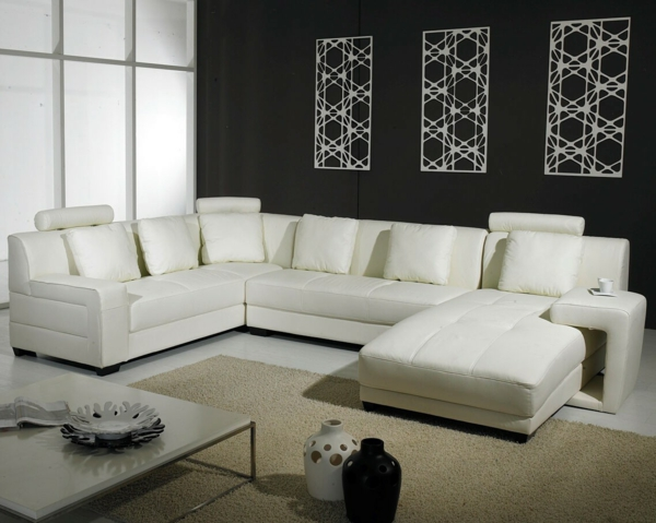 design-ideen-ledersofa-für-das-wohnzimmer -sofa-weiß