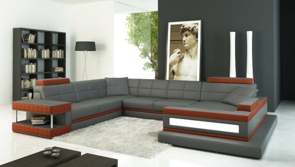 design wohnzimmer rot grau ecksofa 105 wunderbare modelle fr ihre wohnung archzine - Wohnzimmer Grau Und Rot
