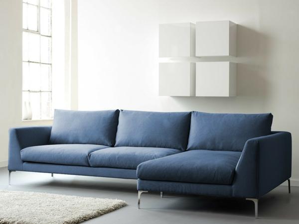 Eine Originelle Eckcouch In Blauer Farbe Komfort Im