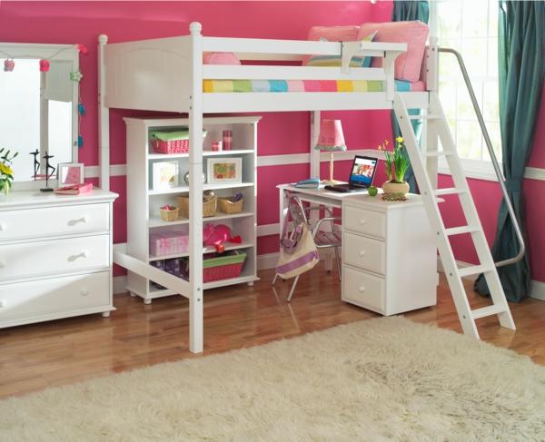 funktionelle-Kinderzimmermöbel-Hochbett-mit-einem-Schreibtisch-in-Weiß