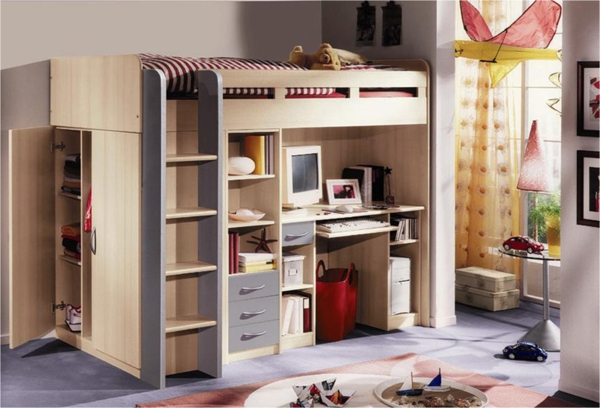 -funktionelle-Kinderzimmermöbel-Hochbett-mit-einem-Schreibtisch