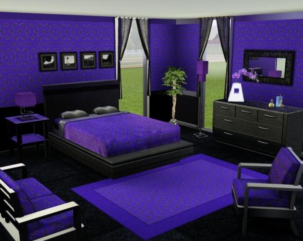 schlafzimmer mit einem lila teppich und mit lila wänden