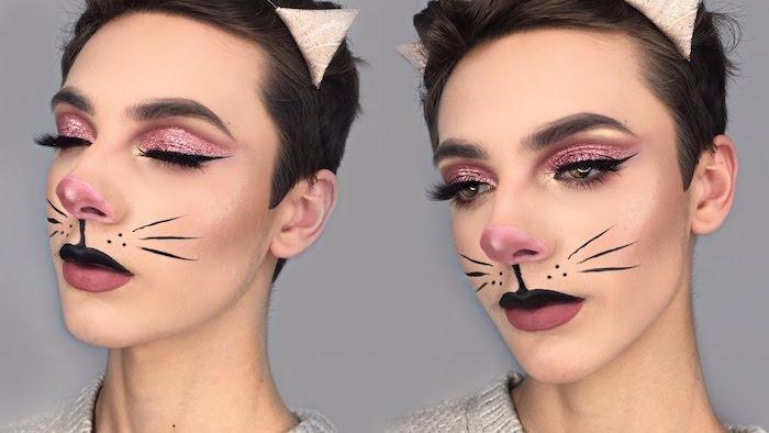 Katze Make up, schwarze Oberlippe und rote Unterlippe, untere Seite der Nase rosa ausmalen, Augen Make up mit Glitzer