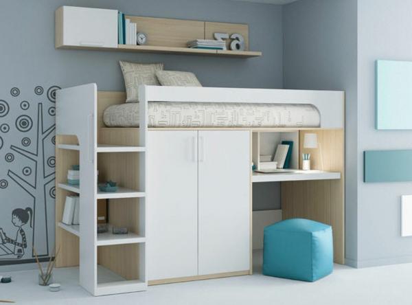 hochbett-schreibtisch-kinder-jungen-machen-Wohnideen-Kinderzimmer-praktisch-gestalten-raumsparende-Kinderzimmermöbel