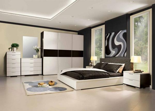 italienische-schlafzimmer-in-schwarz-und-weiß