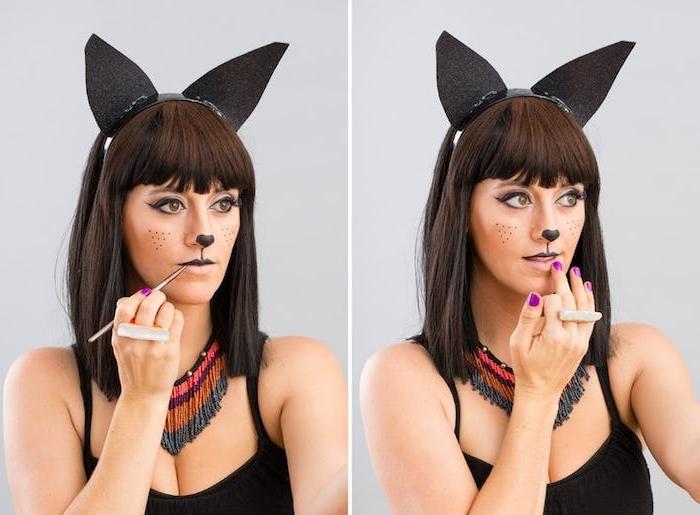 Anleitung für Katze Make up, Oberlippe und untere Seite der Nase schwarz ausmalen, Diadem mit Katzenohren