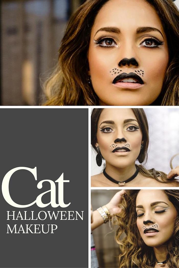 Halloween Make up Katze, schwarze Oberlippe und untere Seite der Nase, schwarzer Eyeliner