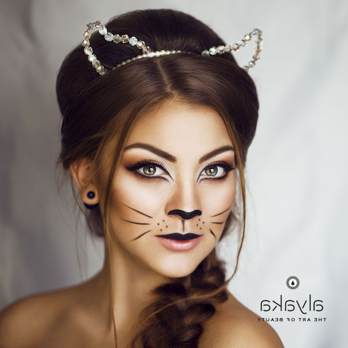 Last Minute Halloween Make up, Katzenohren mit Kristallen, Katze Schminke leicht gemacht