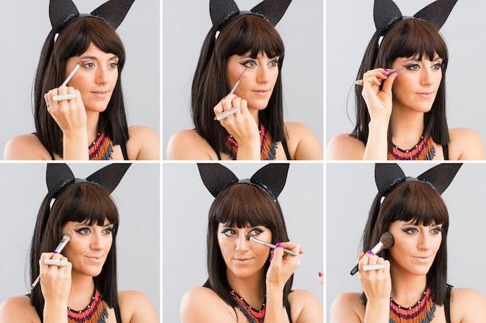 Schritt für Schritt Katze schminken, Lidschatten und Eyeliner auftragen, Katzenohren aus schwarzem Stoff