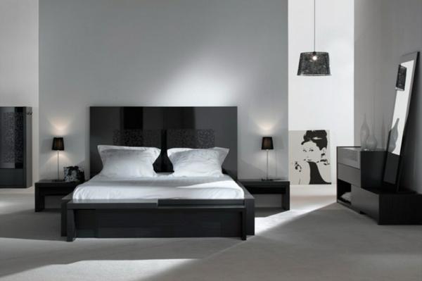 Modernes schlafzimmer einrichten 99 sch ne ideen - Chambre a coucher moderne mauve et noir ...