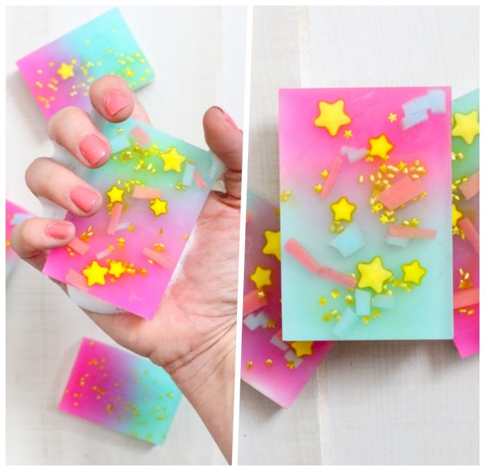 kosmetik selber machen, selbstgemahte ombre seifen in rosa und blau dekroiert mit kleinen sternen