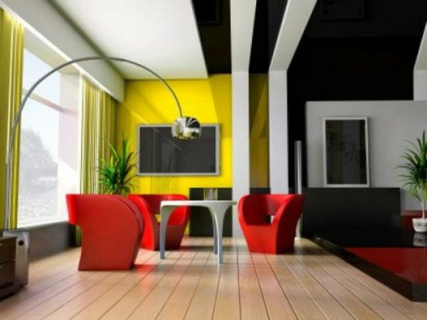 rote sessel und moderne farbgestaltung im wohnzimmer