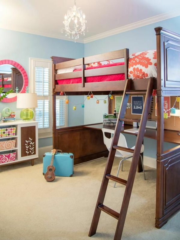 modernes-Hochbett-mit-Schreibtisch-moderne-Kinderzimmermöbel-Wohnideen