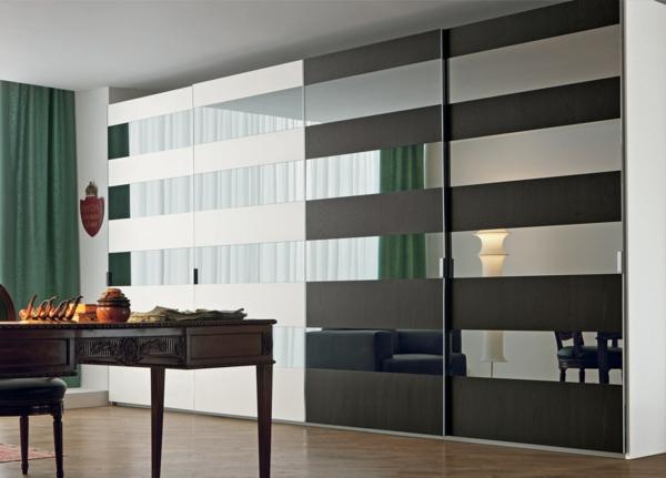 origineller-Kleiderschrank-Schiebetüren-Spiegel-modernes-Interior-Design-Wohnideen