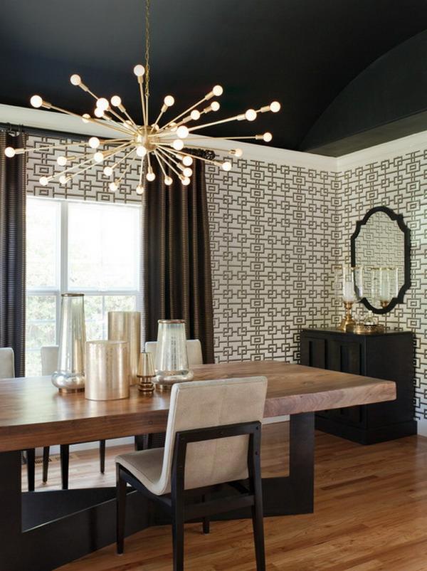 weiß-schwarze wandgestaltung im wohnzimmer