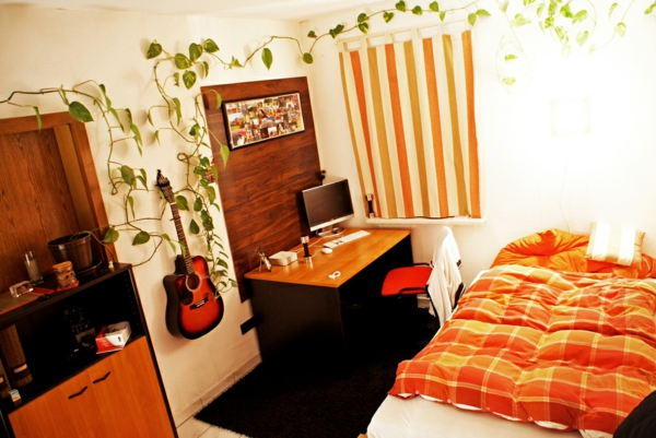 pflanzen-im-schlafzimmer-mit-schicker-gestaltung-in-orange