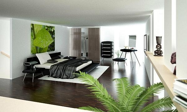pflanzen-im-schlafzimmer-und-großes-bild-über-dem-schicken-bett