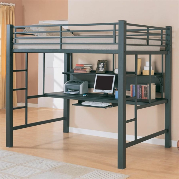 praktische-moderne-raumsparende-Kinderzimmermöbel-aus-Metall- Hochbett mit Schreibtisch