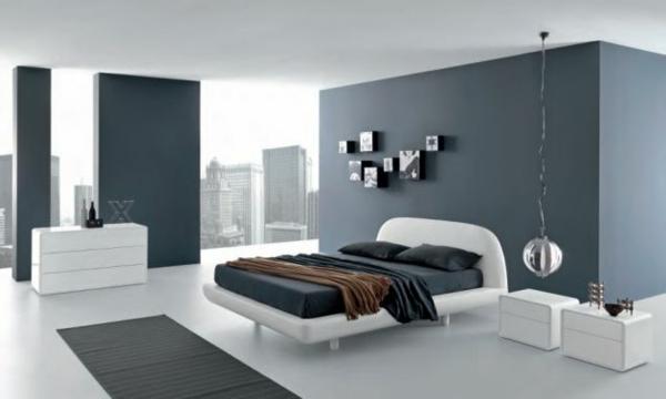 luxuriöses schlafzimmer in grau und weiß