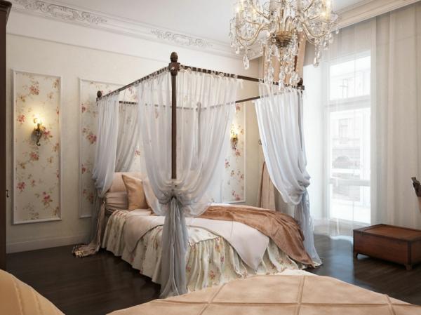 romantisches schlafzimmer design herrlicher kronleuchter ber dem bett