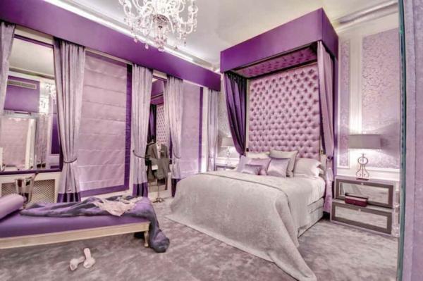 Schon Romantisches Schlafzimmer Design In Lila Farbe