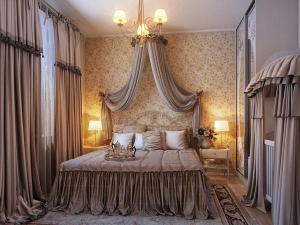 romantisches schlafzimmer design moderne gardinen ber dem bett - Romantisches Schlafzimmer