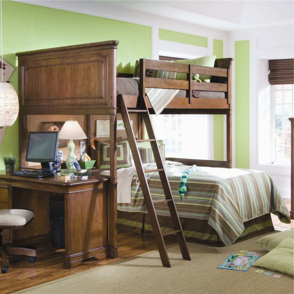 rustic-full-size-loft-bed-with-hardwood-made-mixed-with-desk-traditional-stairs-and-desk-lamp