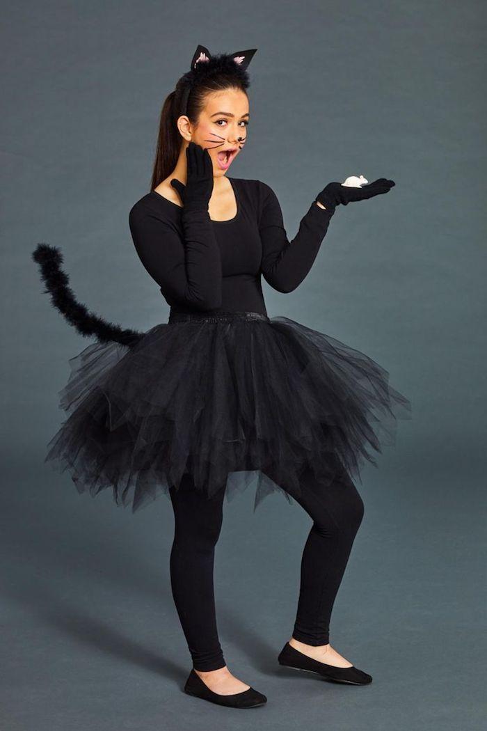 Halloween Kostüm für Mädchen, sich als Katze verkleiden, schwarzes Kleid mit Schwanz und Katzenohren