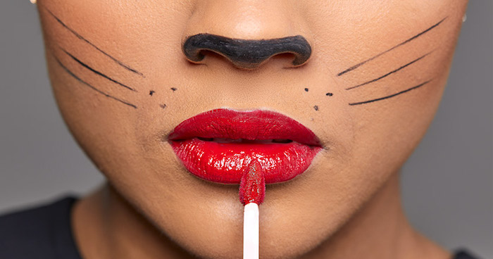 Katze schminken, roten Lippenstift auftragen, untere Seite der Nase schwarz ausmalen, Schnurrhaare malen