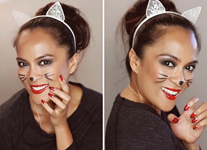 Katze Make up, roter Lippenstift, Smokey Eyes, Schnurrhaare und kleines Dreieck auf der Nase, Katzenohren aus Spitze
