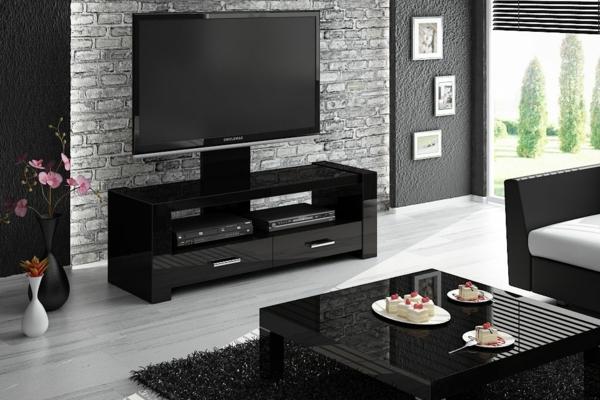 schwarzer-Fernsehschrank-aus-Holz-effektvolles-Design-Einrichtungsideen-für-das-Wohnzimmer