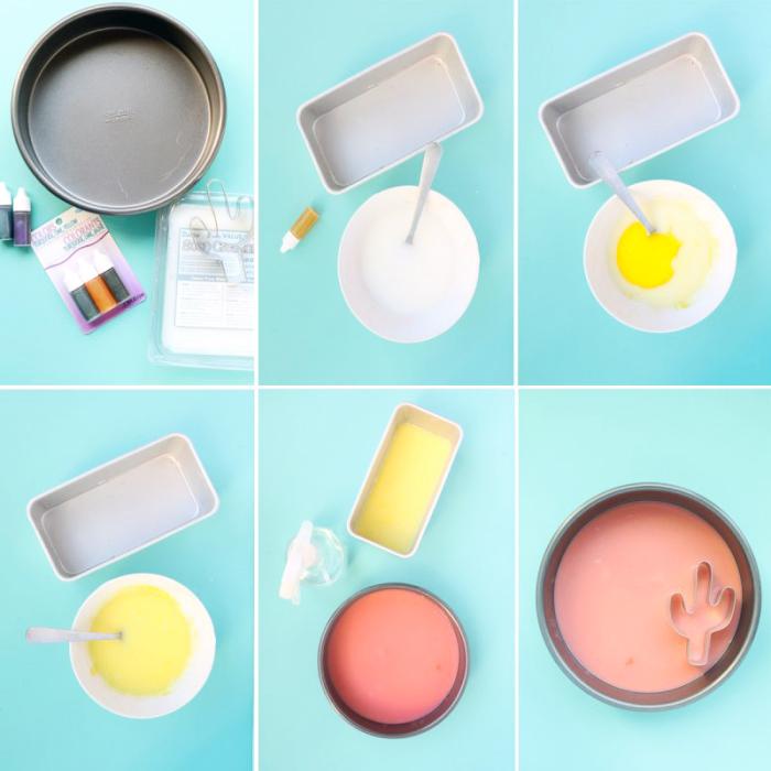 seife herstellen, schritt für schritt anleitung, seifen kakteen, glycerinseife färben