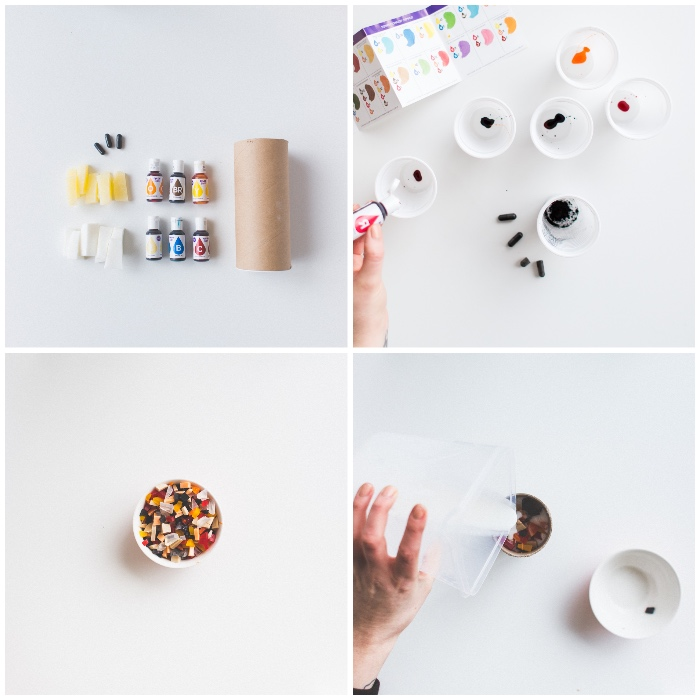 seife selbst herstellen, geschenkideen für frauen, diy ideen, bunte lebensmittelfarben, seife färben
