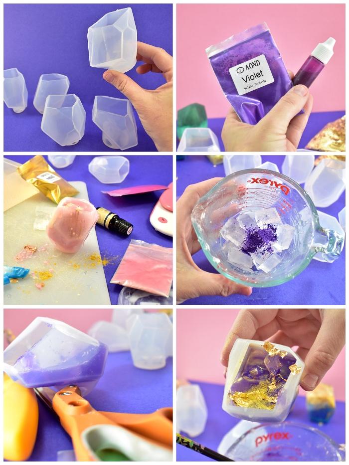 seifen rezepte, edelsteife in bunten farben, glycerinseife schmelzen lassen, gemstone formen