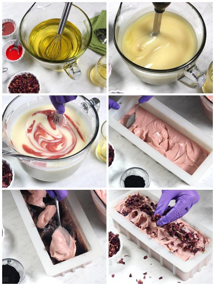 diy geschenk für frau, seifen rezepte, seife schmelzen lassen, rosa ton, getrocknete rosenblätter