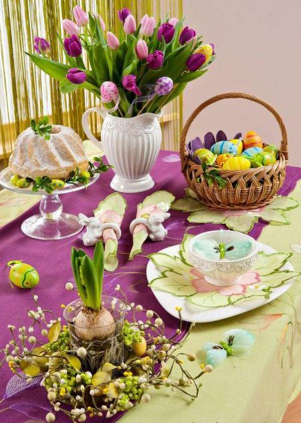 tisch-dekoration-bunt-ostern-tulpen-farbenfroh-pink-rosa-gelb