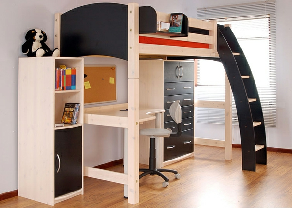 tolles hochbett mit schreibtisch moderne kinderzimmerm bel wohnideen. Black Bedroom Furniture Sets. Home Design Ideas
