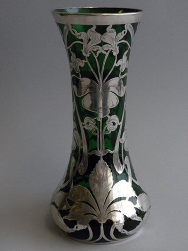 vase-silber-grünes-glas-hoch