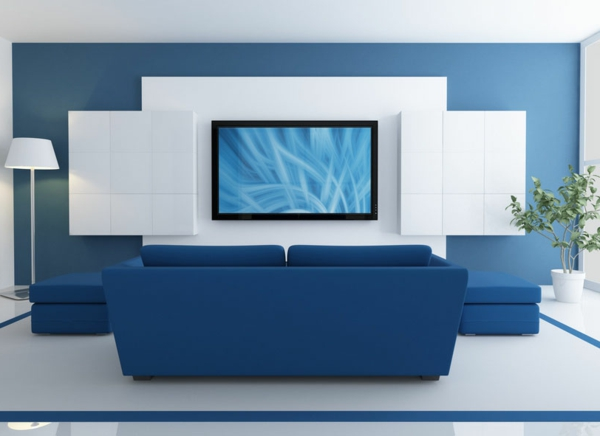 Blue Lounge With Lcd Tv
