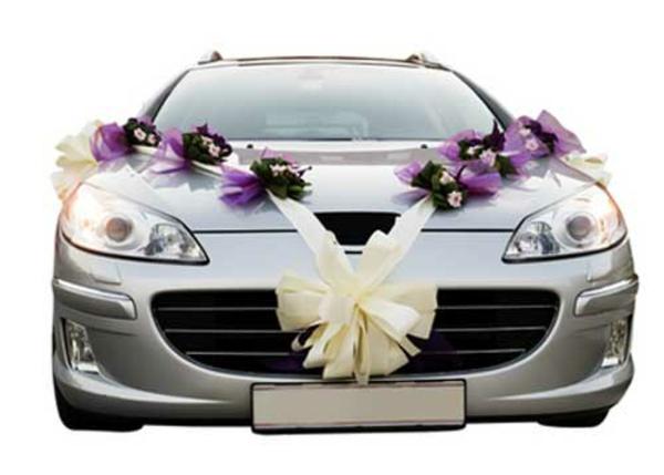 dekoration für autos - zur hochzeit