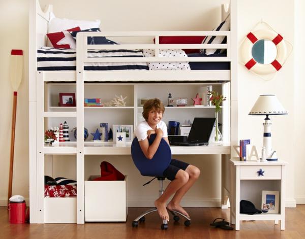 --Kinderzimmermöbel-Kinderhochbett-in-weißer-Farbe