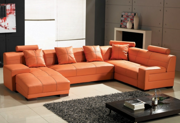 Wohnzimmer Einrichten Ledercouch Design  In Orange Sofa Mit Ledersofa Mit  Fantastischem Design U2013 83 Beispiele! | Wohnzimmer ...