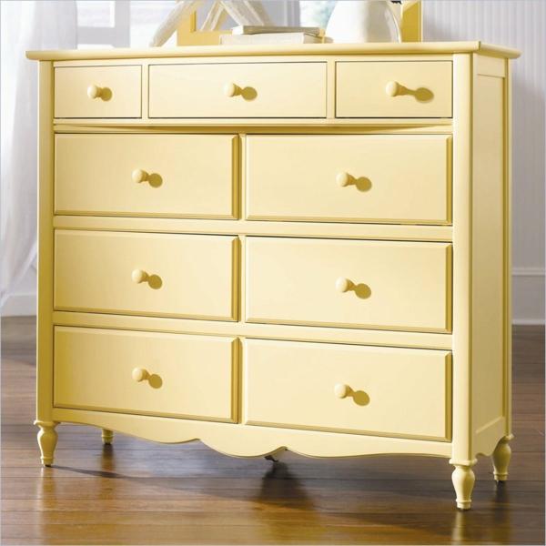 wunderbare-gelbe-Vintage-Kommode-Retro-Design