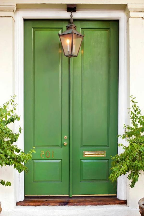 wunderbare-gestaltung-moderne-ambiente-eingangstür-grün
