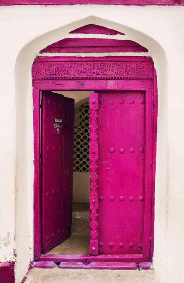 wunderbare-gestaltung-moderne-ambiente-eingangstür-rosa