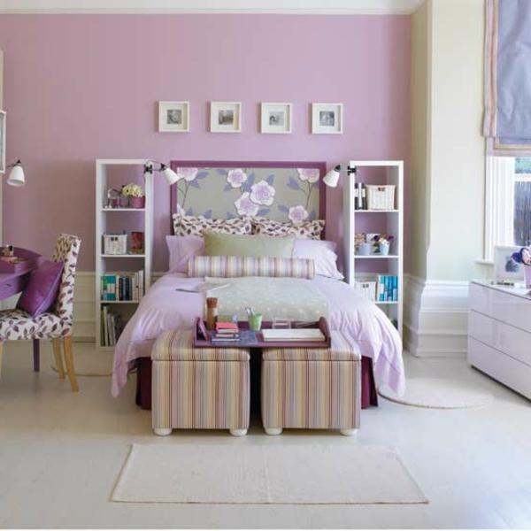 elegantes lila bett im gemütlichen schlafzimmer für mädchen